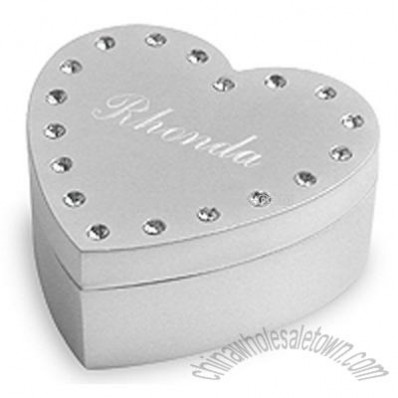 Rhinestone Heart Jewelry Box