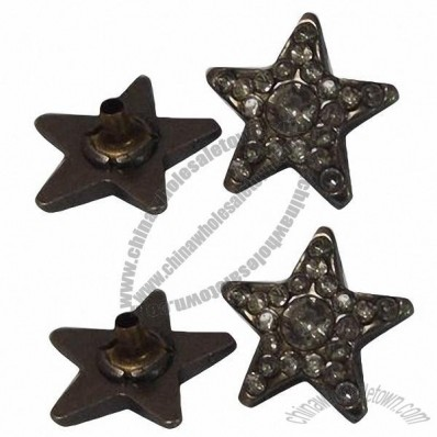 Rhinestone Metal Press Snap Buttons, 21mm, Made of Alloy