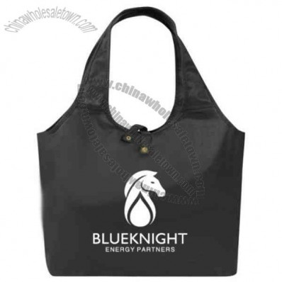 Roll up tote bag with snap closure for easy storage and portability.