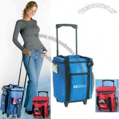 Rolling cooler with telescoping handle and wheels to transport heavy items