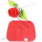 Romantic Valentine Single Rose Design Decorative Towel Handkerchief with Meshed Wrapper