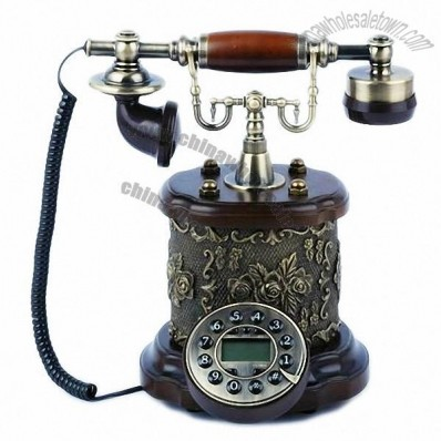 Rose Pattern Gold-plated Wooden Desktop Corded Telephone