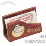 Rosewood Business Card Holder W/Clock