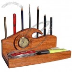 Rosewood Wave Pencil, Pen and Tray Desk Organizer / Analog Desk Clock