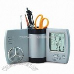 Rotary Multifunctional Pen Holder with Radio