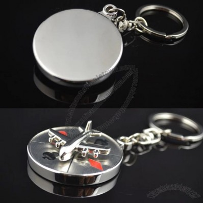 Rotating Aircraft Compass Keychain