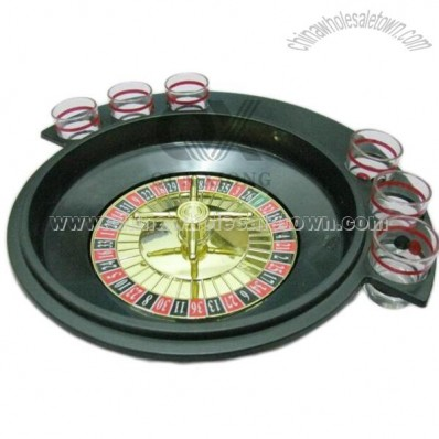 Roulette Wheel with 6 Shot Glasses for Drinking Game