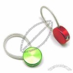 Round Aluminum Alloy Keychain with Cable Wire in PU Coating
