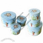 Round Gift Tin Box, Ideal for T-shirt Packing
