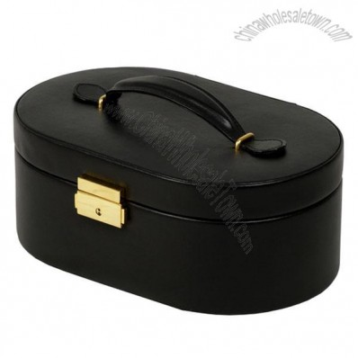 Round Leather Two Layers Jewelry Box