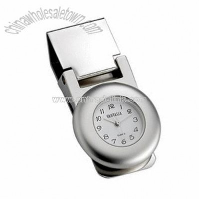 Round Polished Money Clip with Clock