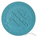 Round Shape Heat Resistant Silicone Coaster Cup Mat with Embossed Pattern