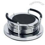 Round Stainless Steel Coaster Set and Stand