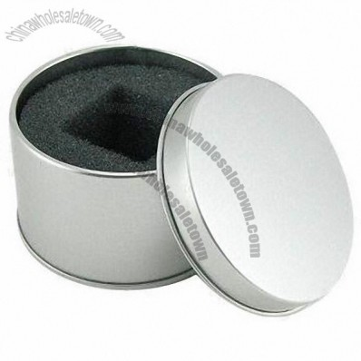 Round Watch Box with Foam, Debossed or Embossed Surface Finish