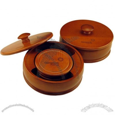 Round Wood Boxed 4 Coaster Set