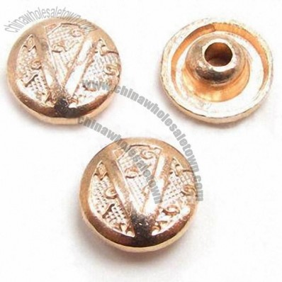 Round gold-plated snap metal buttons, made of metal