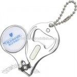 Round nail clipper with bottle opener and key chain