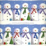 Row of Snowmen Wrapping Paper