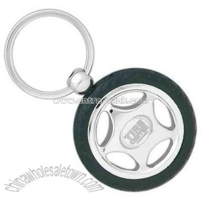 Rubber and metal tire design key chain