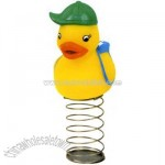 Rubber duck bauble toy on spring
