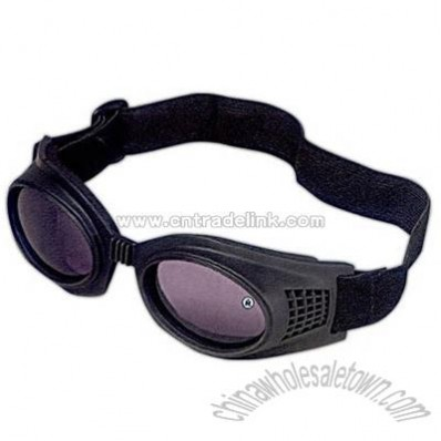Rubber frame goggles with adjustable head strap