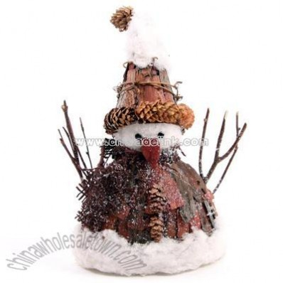 Rustic Christmas Snowman Wide with Pointed Hat, Small