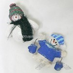 SNOWMAN PIN WITH FABRIC HIGHLIGHTS