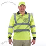 Safety Long Sleeve Polo Shirt Lime Green Class 3