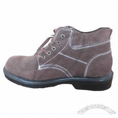Safety Shoes with Steel Toe, Made of Cow Leather and Rubber Sole