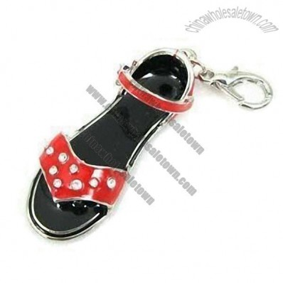Sandals Shape Crystal Keychain with Enamel