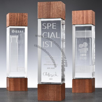 Sapele Wood Crystal Award Trophy