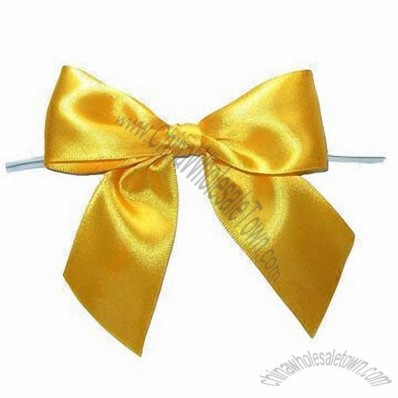 Satin Ribbon Pre-Made Bow With Twist Tie