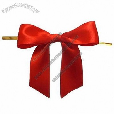Satin Ribbon Pre-Tied Bow With Twist Tie