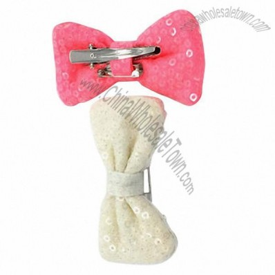 Satin Sequined Embroidered Bowknot Horns Clip Headwear