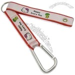 Satin Short Lanyard with Carabiner Hook and Metal Ring