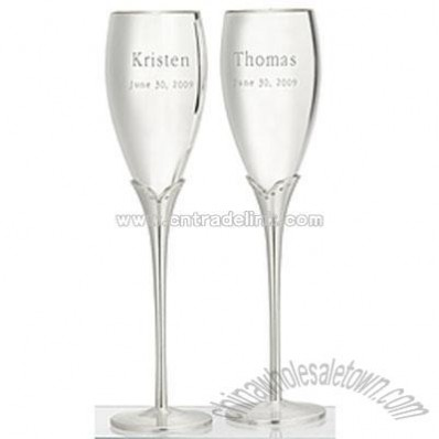 Satin Stem Flutes with Crystals