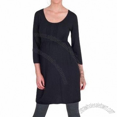 Scoop Neck Maternity Tunic Dress, Made of 95% Viscose and 5% Elastance
