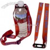 Screened lanyard with heavy duty water bottle holder and adjustable strap