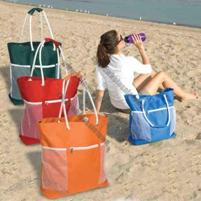 Seaside Tote Bag, 600 Denier Polyester With Zippered Front Pocket