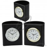 Semicircle PU Leather Pen Holder with Clock