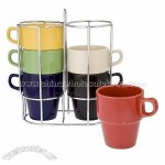 Sensations 7-Piece Stackable Mug Set with Rack