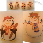 Set Of 4 Snowmen and Penguin Holiday Battery Operated Candles