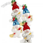Set of 4 Snowman Sweepers Shatterproof Ornaments