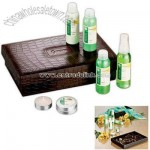 Seven piece spa set in a brown two piece UltraHyde valet box