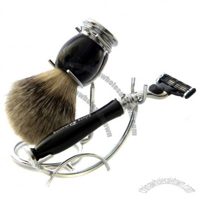 Shaving Sets- Best badger brush with Resin Handle and 3 Blades Razor