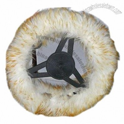 Sheepskin Steering Wheel Cover in White/Brown