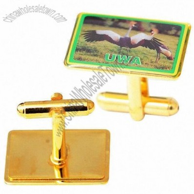 Shiny Gold UWA Cufflinks in Gold Printed Brass Printed with Epoxy