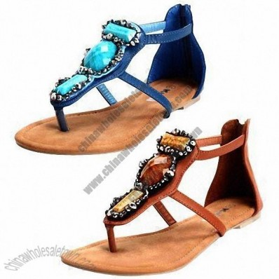 Shiny Rhinestone Decoration on Women's Sandal, Made of PU and TPR