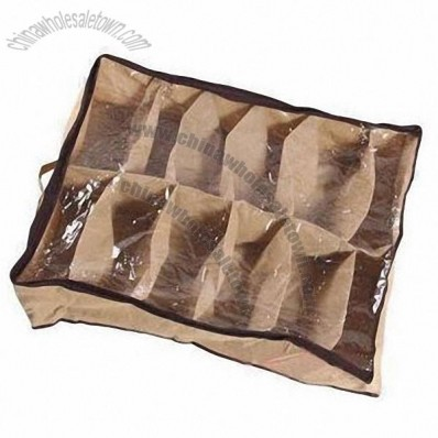 Shoe Box, Made of Nonwoven Fabric, Clear, Zippered, See Through Cover