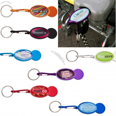 Shopper Trolley Coin Keyring to Brand